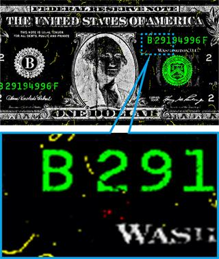 Dollar bill showing traces of explosive